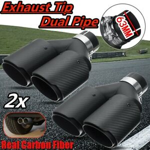2pcs 63mm Rear Dual Exhaust Muffler Tip Tail Pipe Real Carbon Fiber Matte Black