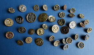 Mixed Group Of 36 Metal Fashion Buttons Old Vintage