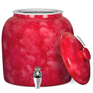 2 To 5 Gallon Red Marble Pattern Water Dispenser With Lid Ceramic Water Crock
