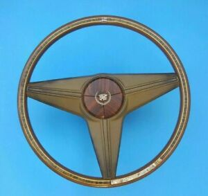 Vintage 15 Cadillac Steering Wheel Brown W Faux Wood Grain