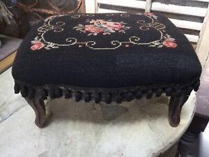 Antique Vintage Victorian French Wood Foot Stool With Floral Needlepoint Top