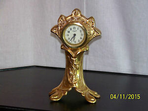 Antique New Haven Art Nouveau Gold Gilt Mantle Clock Works