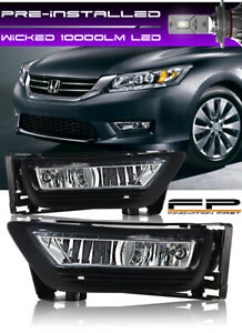 Wicked Led 2013 2014 2015 Honda Accord Sedan 4dr Clear Fog Light Lamp Full Kit