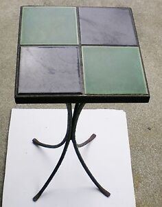 Vintage Ceramic Tile Wrought Iron Bamboo Leg Table 1