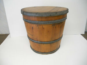 Antique Wood Barrel Container Bucket Dry Goods Feather Tree Stand Christmas