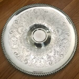 Vintage Etched Detail Silver 12 Wm Rogers Entertaining Platter Tray Gorgeous