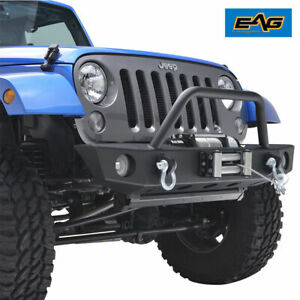 Eag For 07 18 Jeep Wrangler Jk Front Bumper Off Road With Winch Mount Plate