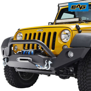 Eag For 07 18 Jeep Wrangler Jk Full Width Front Bumper With Winch Mount Plate