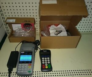 First Data Fd50 Ethernet Dial Terminal W Fd 10 Pin Pad W power Adapter Boxed