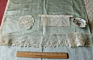 French Antique Handmade Lace Embroidery Doll Bundling Group 3 Pieces Bridal