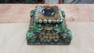 Vintage Architectural Carved Capital Antique Wood Column Base Large Candle Stand