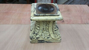 Vintage Architectural Carved Capital Antique Wood Column Base Candle Stand
