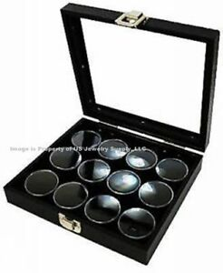 2 Glass Top Lid Black 12 Jar Boxes Cases Display Gems Body Jewelry Gold Nuggets