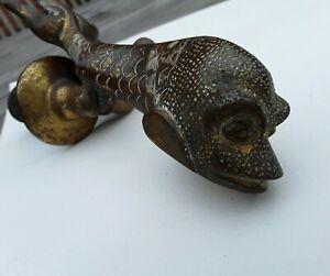 Unique Antique Vintage Brass Bronze Fish Koi Dolphin Door Knocker