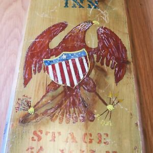 Vintage Eagle Inn Folk Art Patriotic Sign