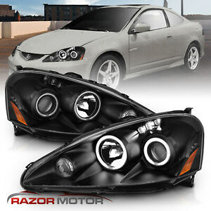 dual Ccfl Halo 2005 2006 Acura Rsx Led Projector Black Headlights cdrl