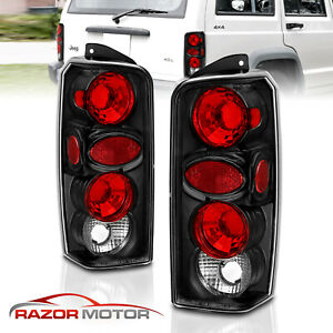 1997 1998 1999 2000 2001 Jeep Cherokee Black Brake Tail Lights Rear Lamps Pair