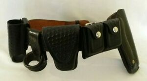 Don Hume B101 Police Duty Leather Basket Weave Belt With Holster