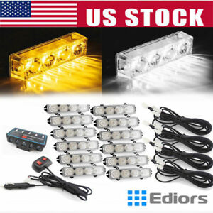 12v 48 Led Amber White Emergency Hazard Warning Strobe Flashing Light Bar