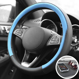 Pu Leather Steering Wheel For Auto Car Blue Black With Black Dash Mat Pad