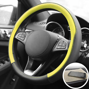 Universal Steering Wheel Cover For Car Suv Van Yellow With Beige Dash Mat Pad