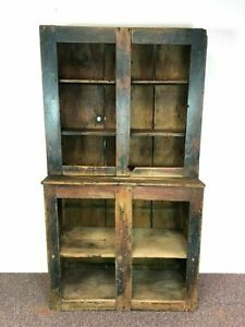 19th Century Pine Country Step Back Cupboard Cabinet Old Blue Red Paint