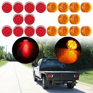 20x 2 Round Side Marker Universal Tail Light 9led Flower Petal Look Red