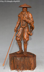 Chinese Boxwood Wood Handwork Carving Ancient Samurai Warrior Man People Statue