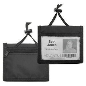 Advantus Id Badge Holder W convention Neck Pouch Horizontal 4 X 2 1 4 Black