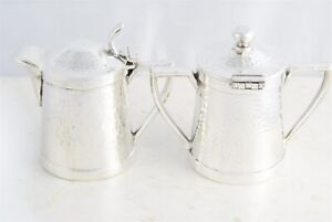 Mid Century Modern Cecilware Silver Plated Hand Hammered Creamer Sugar Bowl