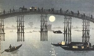 Japanese Woodblock Print Night Scene Matsumoto Do Published