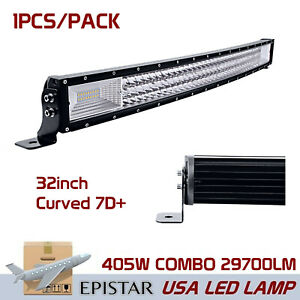 7d 32in 405w Led Curved Light Bar Tri Row Offroad Trailer Ford Suv Slim Lamp