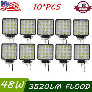 10x 48w Square Led Work Light Flood Beam Truck Driving Fog Lamp 4wd Ford Boat