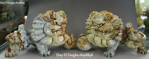 12 Unique China Natural Jade Carved Guardion Foo Fu Dog Lion Beast Statue Pair