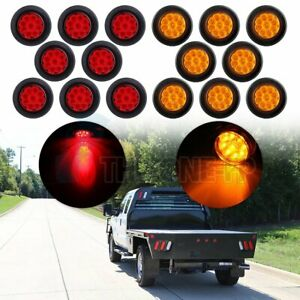 16x 2 Round Side Marker Universal Tail Light 9led Flower Petal Red Amber W Grom