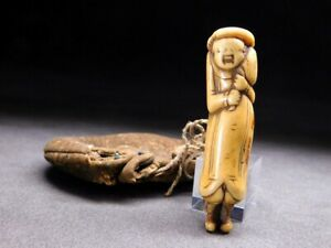 Fine Stag Horn Netsuke W Pouch Man 18 19thc Japanese Edo Antique For Inro