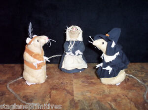 Cute 5 Tall Thanksgiving Pilgrim Indian Mice Mouse Sewing Pattern Holiday
