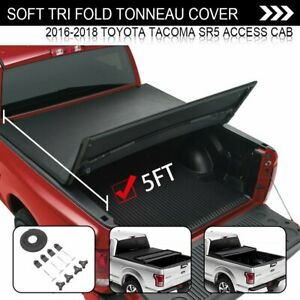 For 16 18 Toyota Tacoma 5ft Soft Tri Fold Tonneau Cover Truck Bed Cover W Light