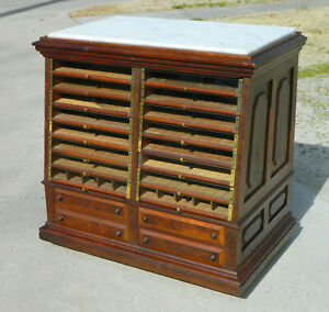 Victorian Walnut General Store Spool Cabinet