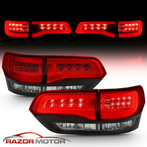 2014 2015 Jeep Grand Cherokee Red Black Clear Led Brake Tail Lights Rh Lh Pair