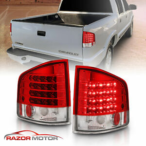 1994 2004 Chevrolet S10 gmc Sonoma isuzu Hombre Red Clear Led Tail Lights Pair