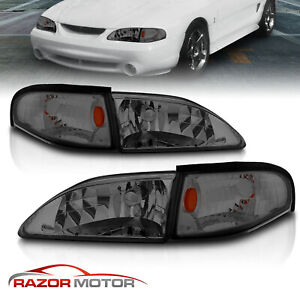 1994 1998 Ford Mustang Smoke Replacement Headlights Corner Signal Lamps Set