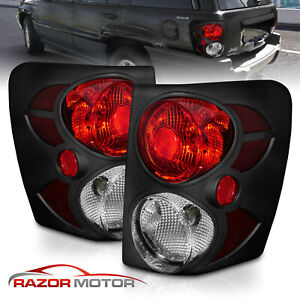 1999 2004 Jeep Grand Cherokee Black Tail Lights Rear Brake Lamps Pair