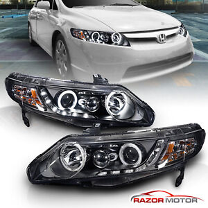 dual Ccfl Halo for 2006 2011 Honda Civic Sedan Black Led Projector Headlights