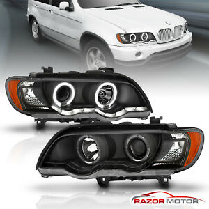Dual Led Halo 2000 2001 2002 2003 Bmw E53 X5 Black Projector Headlights Pair