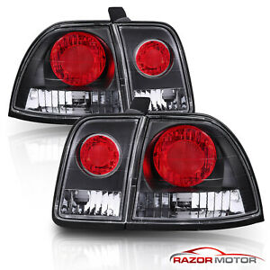 1996 1997 Honda Accord Dx Ex Lx Exl Sedan Coupe Black Rear Brake Tail Lights Set