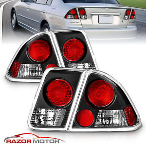 For 2001 2005 Honda Civic Es Dx ex gx lx hybrid value 4dr Black Tail Lights