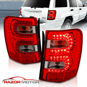 1999 2004 Jeep Grand Cherokee Red Smoke Led Tail Lights Pair