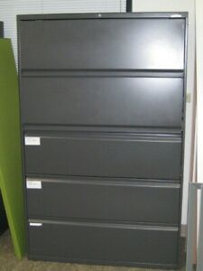 Hon Lateral File Cabinet 5 Drawer Black 42 X 18 X 65 Nice Condition