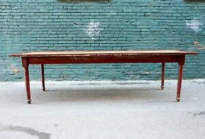 Antique 9ft Harvest Table Farm House Kitchen Dining Rustic Red Turned Wood Legs